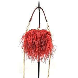 Image 5 - נשים יען פרווה ערב חתונה מסיבה יוקרה תיק חדש Tote שרשרת ציצית כתף תיק נוצת ציפורני יום אהבה