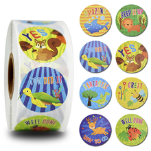 8 different designs teachers students encourage stickers 500pcs round cartoon inspirational word sealed envelope labels