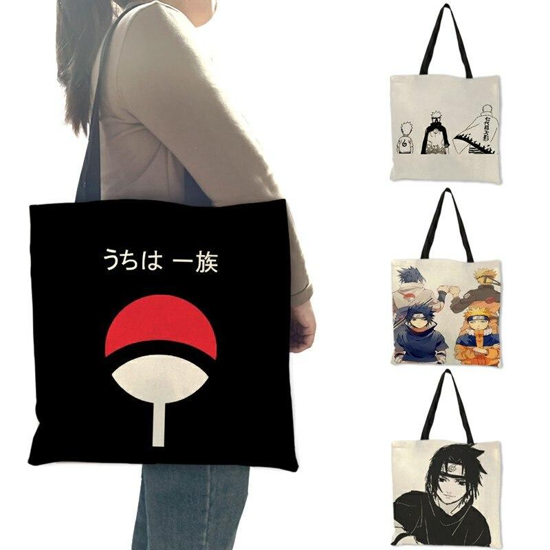 Женская сумка-тоут с принтом Какаси, многоразовая сумка на плечо с японским аниме, B06125