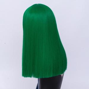 Image 2 - MSIWIGS Long Straight Cosplay Green Wigs Synthetic Wig for Women Purple Hair with Cut Bangs