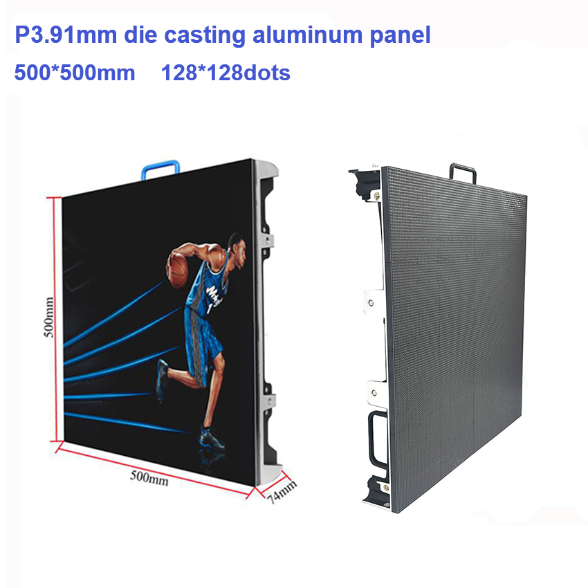 12pcs Outdoor Led Display 128*128dots P3.91 SMD1921 500x500mm Die Cast Aluminum Cabinet, Full Color LED Big Billboard Screen