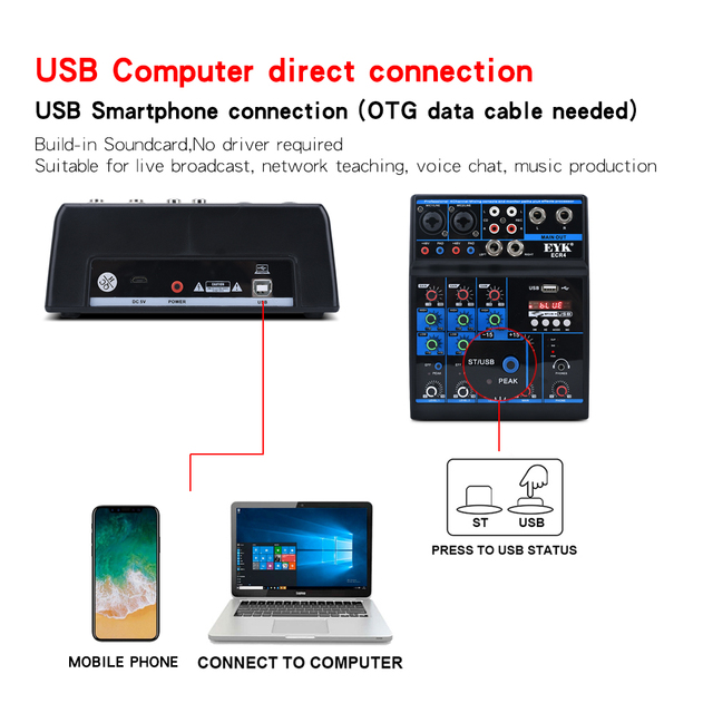 EYK 4-channel Audio Mixer Console with USB power supply Connect to Computer Built-in Soundcard suitable for home live Recording