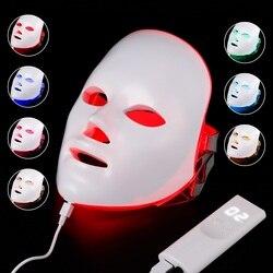 Máscara Facial Terapia 7 cores Beleza Luz Terapia Photon Rejuvenescimento Da Pele Tratamento Facial Cuidados de Beleza Anti Acne Clareamento SPA