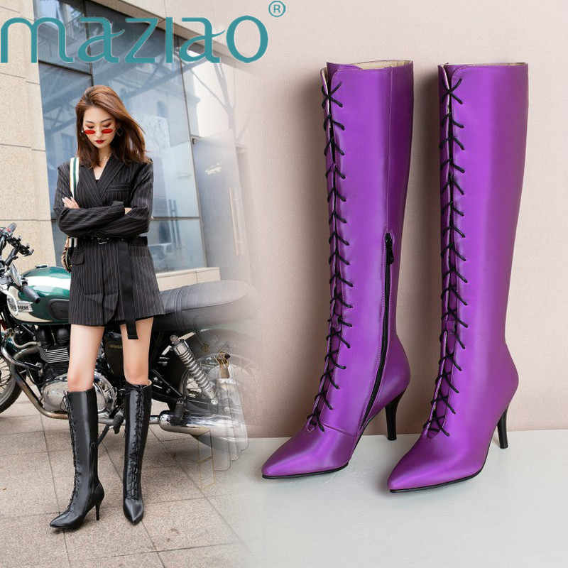 Sexy Fashion Autumn Winter Boots Women Pointed Toe Cross Tied Knee High Heels Shoes High Quality Pu Leather Long Boots MAZIAO