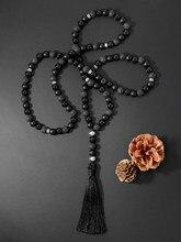 OAIITE 8mm Onyx und Lava Stein Perlen Halskette Ethnische Böhmen 108 Mala Bead Yoga Meditation Halskette für Frauen
