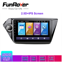 Funrover 2.5D+IPS android 9.0 car dvd player radio for kia k2 Rio 2010 2017 gps navigation multimedia stereo 2 Din dsp rds bt