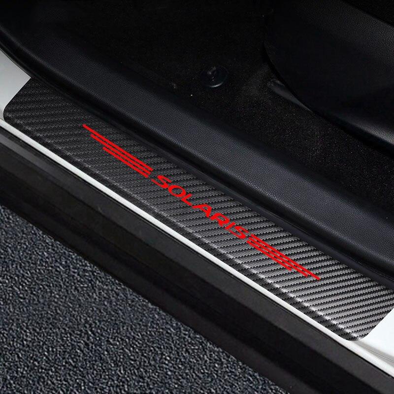 Для Hyundai Solaris Углеродные волоконные наклейки Пастер и устойчивая к царапинам крышка автомобильные накладки на пороги наклейки на авто порог...