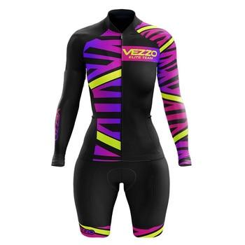 Vezzo verão mangas compridas mulheres bicicleta skinsuit roupa de ciclismo speedsuit mtb ciclismo triathlon esportes ao ar livre wear macacão 1