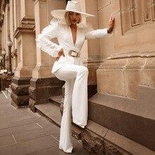 Tosheiny 2019 Deep V Neck Long Sleeve Women Blazer Solid Color 2 pcs Women Suit