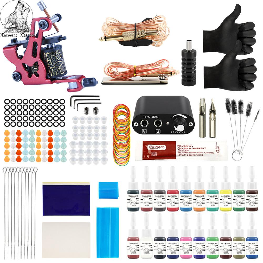 Tattoo Kit  20 Colors Inks 8 Wrap Coils Tattoo Gun Machines Grips Needles Power Supply Tattoo Kit For Beginner Accessories Set
