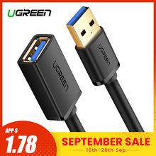 Ugreen USB Extension Cable USB 3.0 Cable for Smart TV PS4 Xbox One SSD USB3.0 2.0 to Extender Data Cord Mini USB Extension Cable(China)