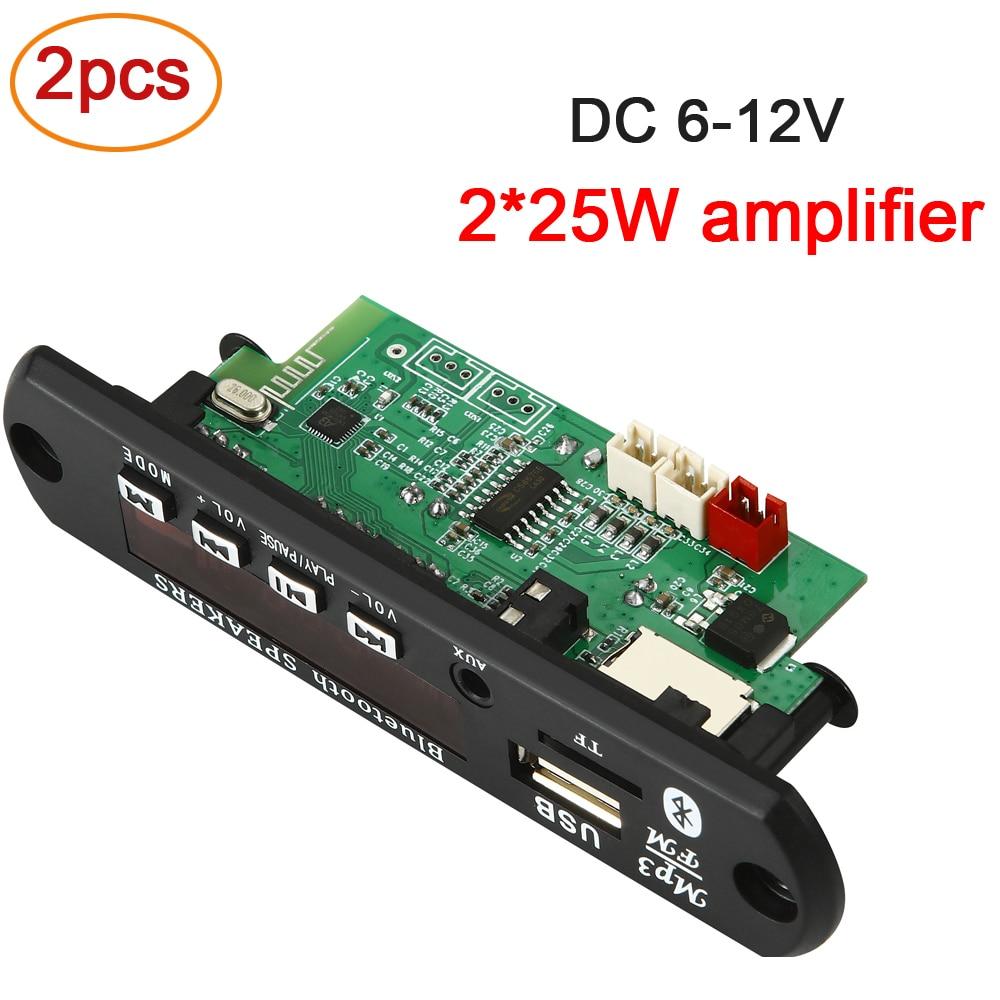 2pcs/pack 2*25W 50W amplifier MP3 WMA Player Decoder Board 6V-18V Bluetooth 5.0 Car Player FM Radio Module Support TF USB AUX