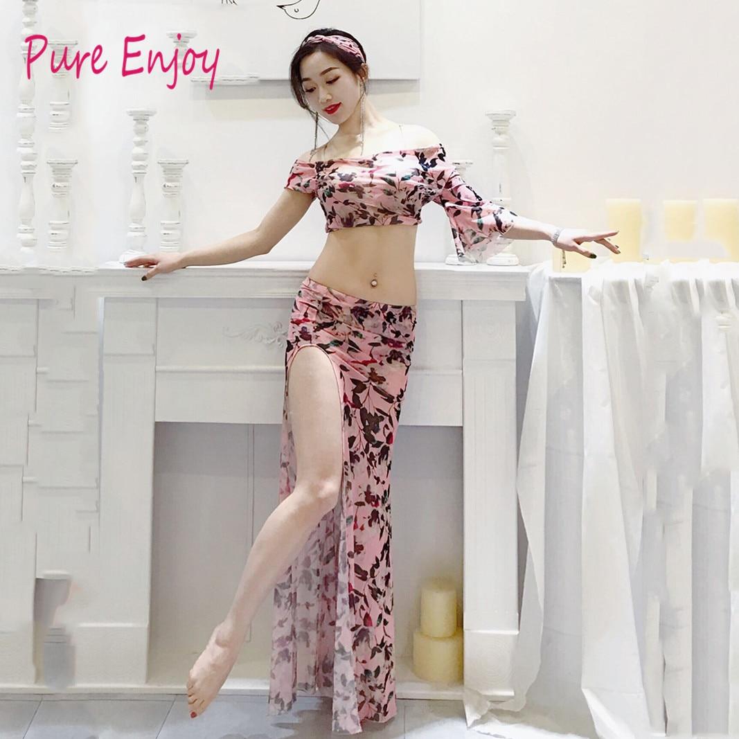 Adult Belly Dance Costume Oriental Suit Set T Shirt Top Skirt For Women Oriental Bellydance Clothes Indian Clothes 3pcs