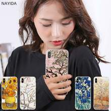 Силиконовые мягкие чехлы NAYIDA для iPhone 11 Pro 2019 X XI XS Max XR 6 7 8 Plus SE 4 5 S Van Gogh flower(China)