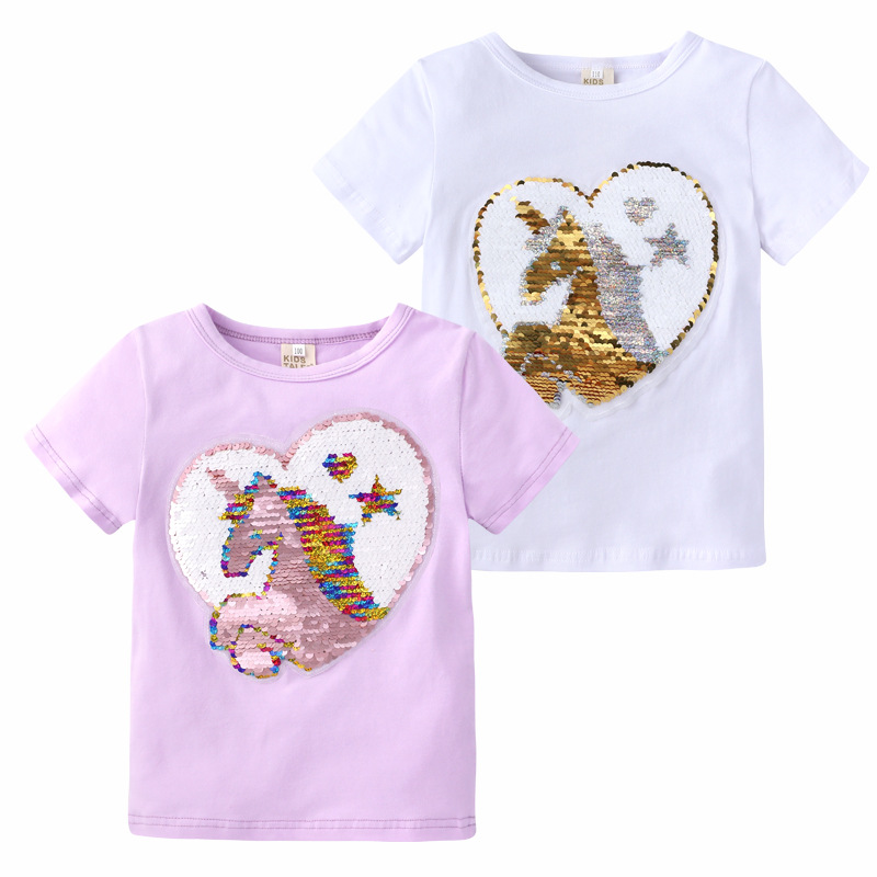 Girls Magic Glitter Reverse Sequin Top Color Changing Kids Girls T shirts Summer Kids Sequined T shirt Tops Children's Clothing image