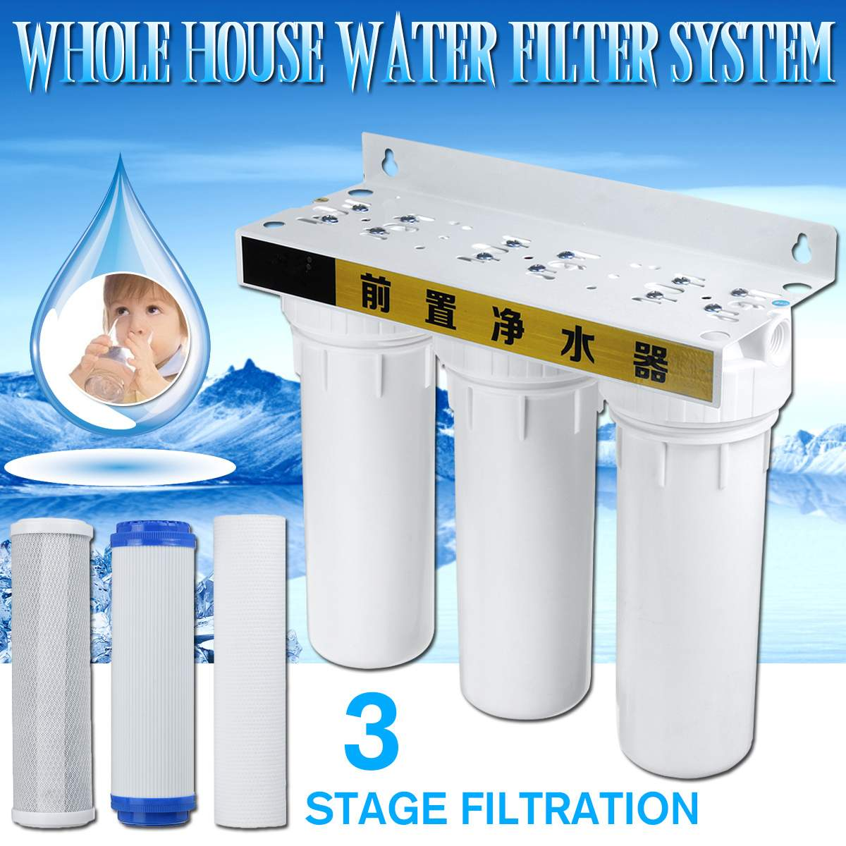 Water Purifier 3 Stage Filter Cartridge PP UDF CTO System Water Filters For Household Straight Drinking Water Purifier