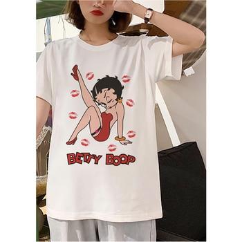 2020 Summer Casual Vogue Female T-shirt Harajuku Funny Betty BOOP Printed Tshirt Vintage Aesthetic T Shirt New White Streetwear 1