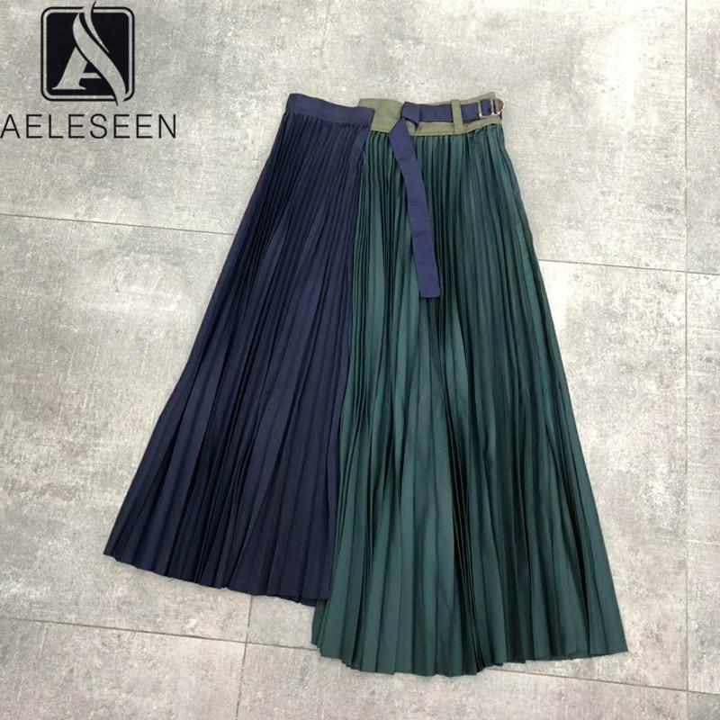 AELESEEN Vintage Irregular Skirt Women 2020 High Quality Contrast Color Patchwork Belt Elegant Party Holiday Skirt