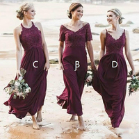 Burgundy Beach Country Bridesmaid dresses Mix and Match Style Top Lace Floor Length Chiffon wedding Party Gowns maid of honor