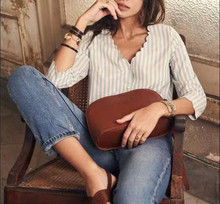 Chic Lady Wave Lace Stripe Shirt Elegant V Neck Three Quarter Sleeve Button Blouse