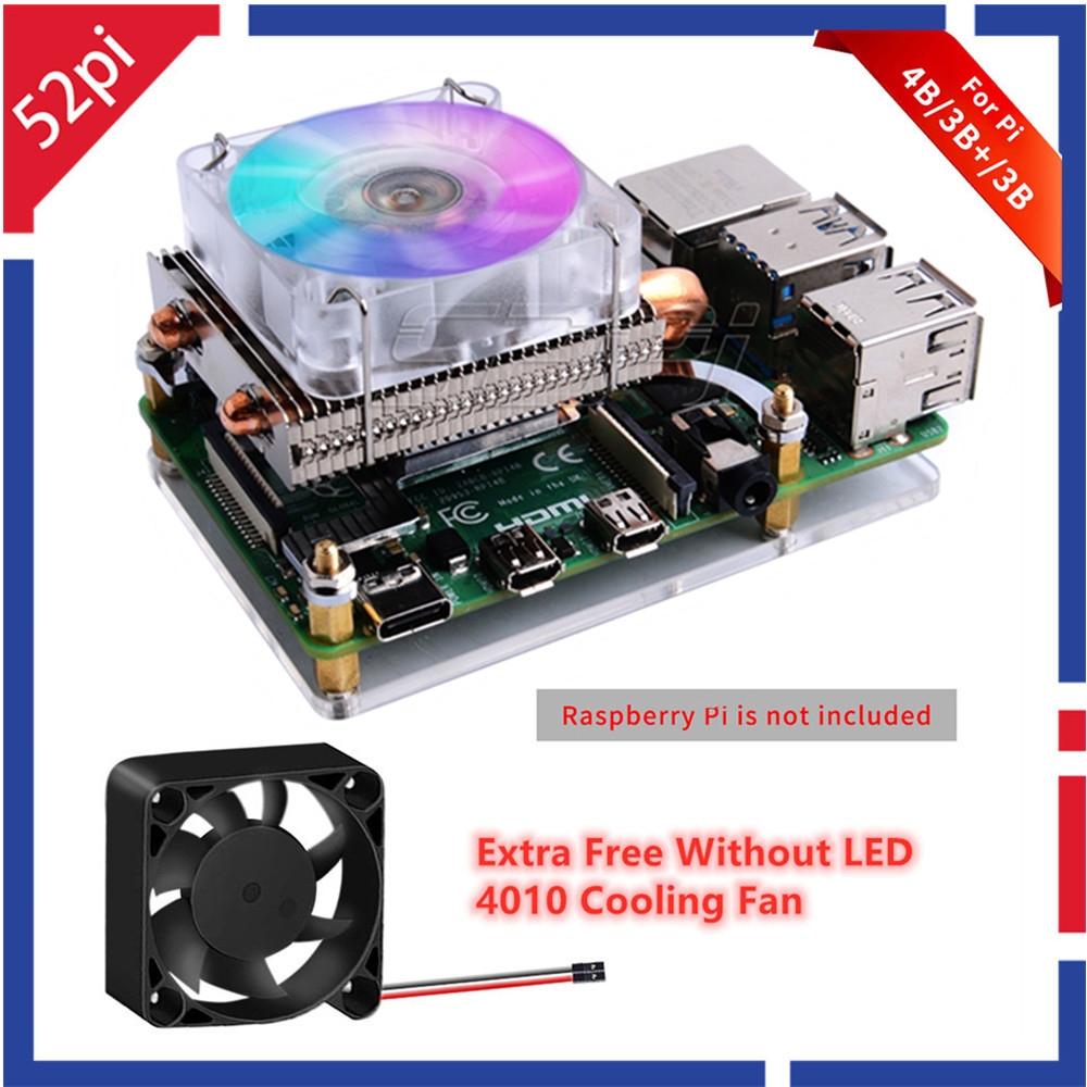 52Pi Low-Profile Ice Tower Cooling Fan Metal Case 7 Colors RGB Changing LED Light with Bracket for Raspberry Pi 4 B   3B    3B