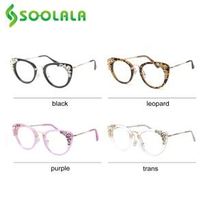 Image 3 - SOOLALA Cateye Reading Glasses Womens Luxury Rhinestone Eyeglasses Leopard Black Purple Presbyopia Reading Glasses +0.5 to 4.0