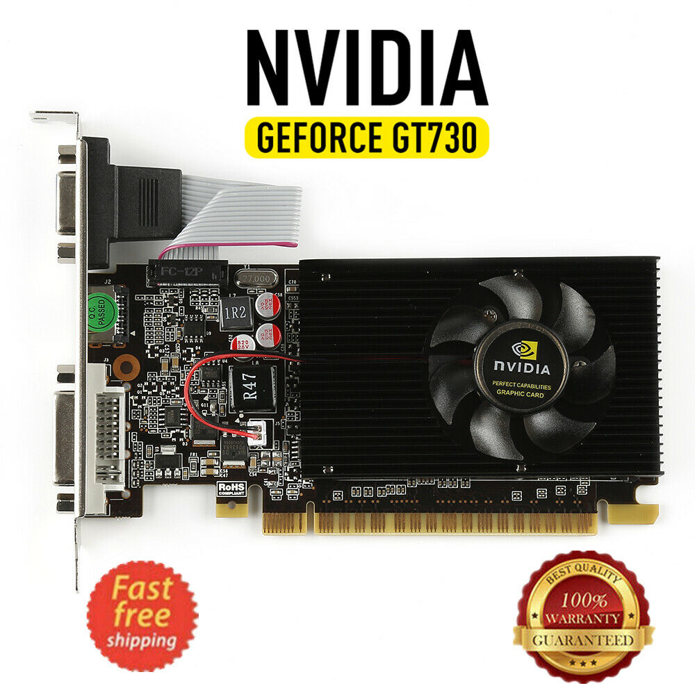 Video Karte NVIDIA <font><b>GeForce</b></font> <font><b>GT730</b></font> <font><b>2GB</b></font> DDR3 DVI VGA HDMI PCI-E Low profile Grafikkarte NEUE image