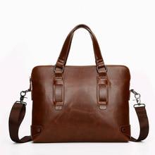 Vintage Male Business Bag PU Luxury Briefcase Bag Men Waterproof Shoulder Bag Office Handbag Document Case Portfolio