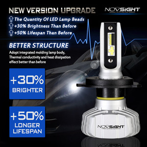 Image 2 - NOVSIGHT רכב פנס H4 Hi/Lo קרן LED H7 H1 H3 H8 H9 H11 H13 9005 9006 9007 50W 10000lm 6500K אוטומטי פנס ערפל נורות