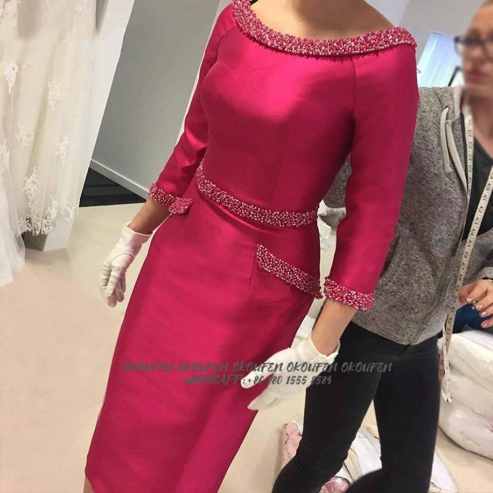 Mother Of The Bride Groom Dresses For Wedding Fuchsia Sheath Beading O Neck 3/4 Long Sleeves Women Short Wedding Guest Gowns