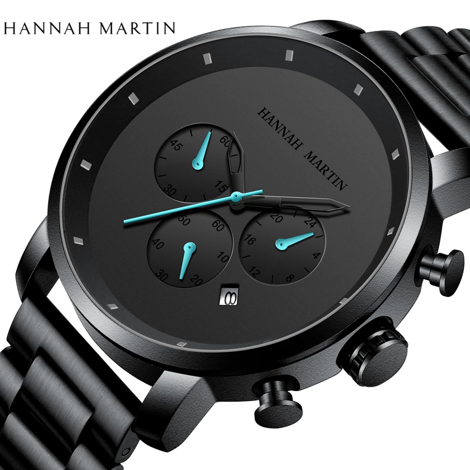 DropShipping Big Dial 45mm Full Black Stainless Steel Multi function Calendar Men s Top Brand Innrech Market.com