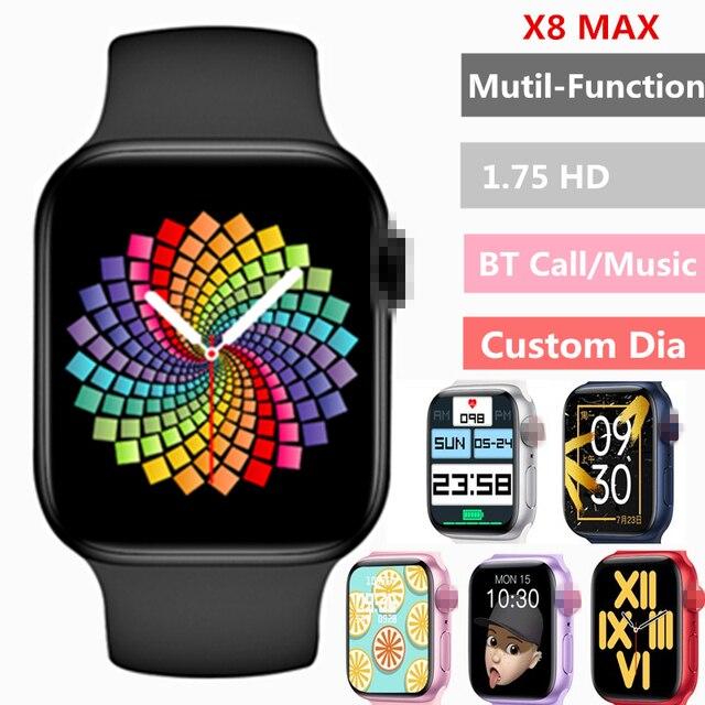 2021 Original X8 Max Smart Watch 1.75inch Custom Dia BT Call  Sports Sleep Monitor Heart-rate Men Woman iwo Smartwatch PK iwo13 1