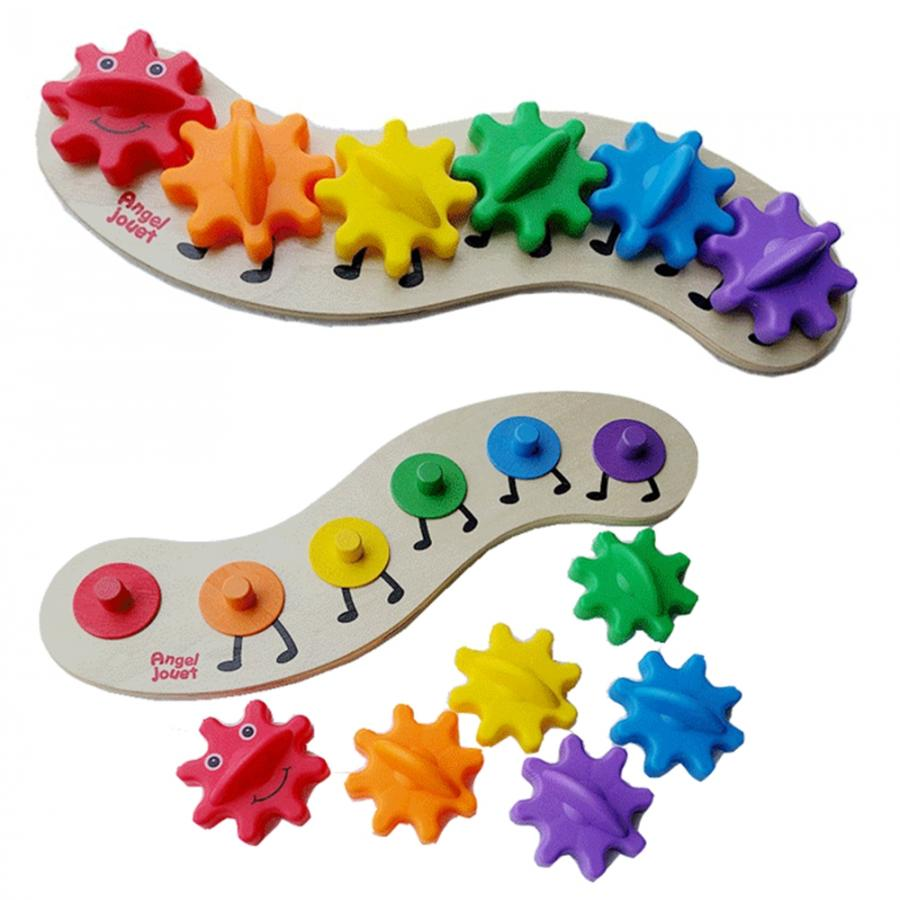 2020 Children'S Education Wooden Gear Assembly Caterpillar Toys Assembling Blocks Colorful Sorting Color Cognitive Board Toys