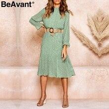 BeAvant Bohemian dot print women dress Elegant sash lace up pleated female autumn dress Long sleeve ruffled ladies vintage dress