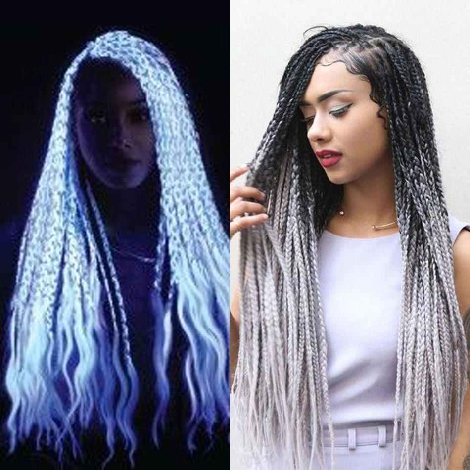 24 Inch Jumbo Vlechten Lange Ombre Jumbo Synthetische Vlechten Haar Gehaakte Blonde Roze Blauw Grijs Haar Extensions Afrikaanse Smart Braid
