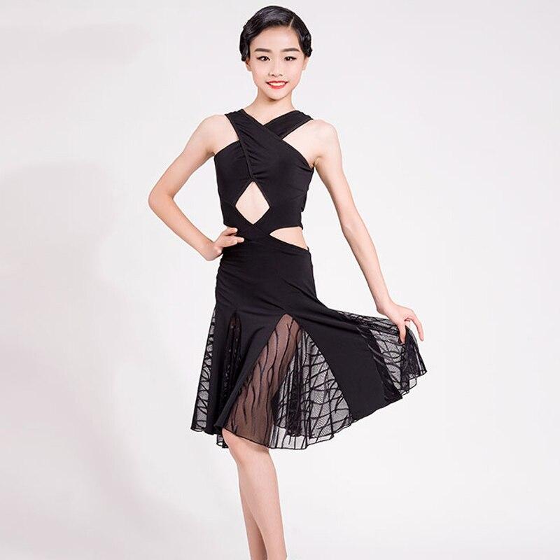 Latin Dance Dress Kids Black Sleeveless Practice Clothing Children Professional Latin Competition Performance Dresses DQL2124