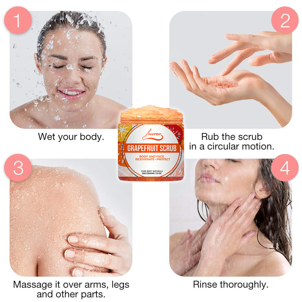 Купить с кэшбэком Grapefruit Scrub Body Scrub Cream Facial  Dead Sea Salt For Exfoliating Whitening Moisturizing Anti Cellulite Treatment Acne
