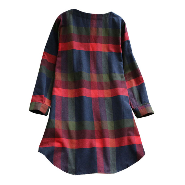 2020 New Plus Size Plaid Dress Women O-neck  Long Sleeve Loose Pullovers Streetwear Mini Dress Casual Womens 2