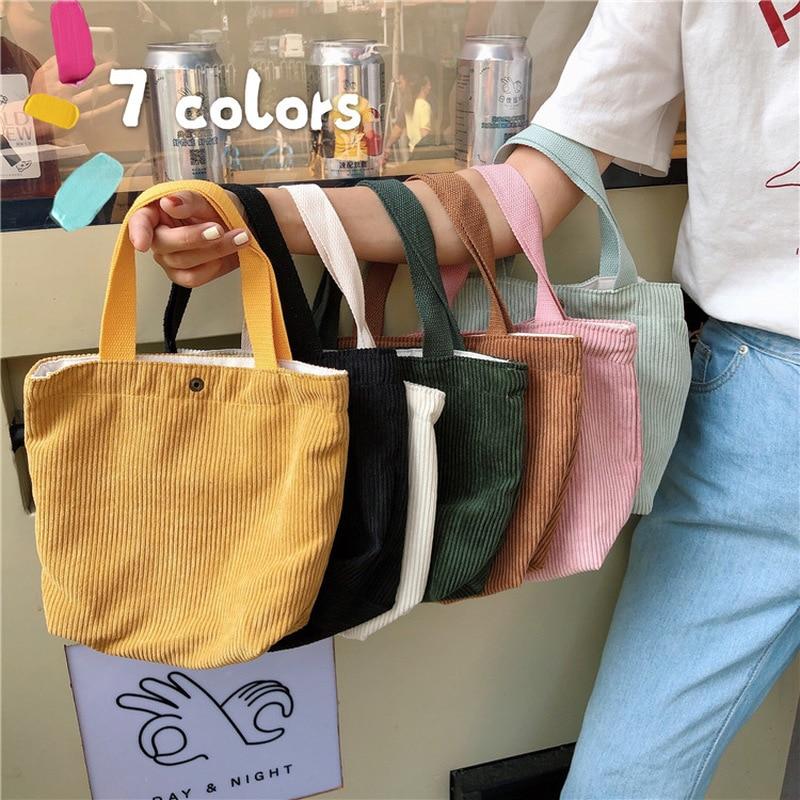 GABWE Hand-held Mini Corduroy Bag Solid Shopping Handbags Ladies Vintage Tote Casual Shoulder Bag Zero Wallet Hasp Bucket Bag