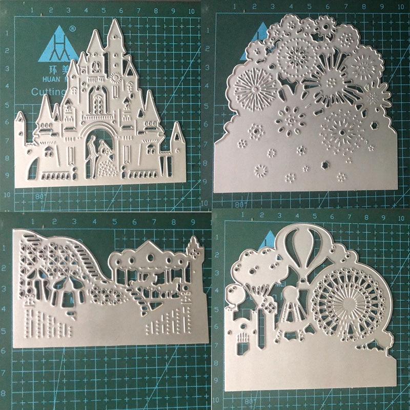 Church Buildings Amusement Park Dandelion Flowers Metal Cutting Dies For DIY Scrapbooking Crafts Wedding Paper Cards 2020 New