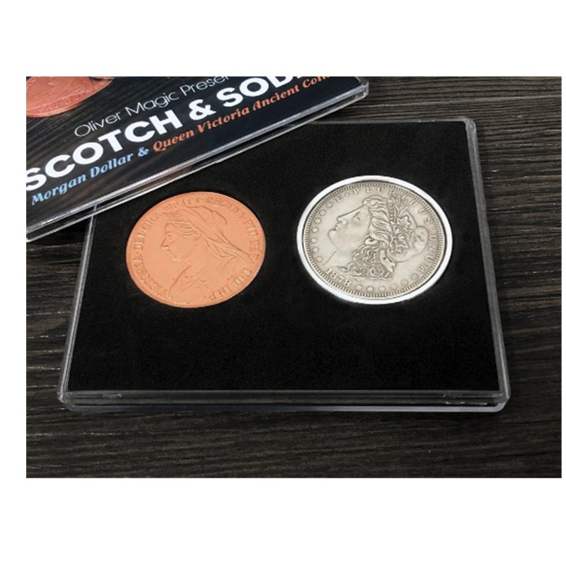 Scotch & Soda By Oliver Magic (Morgan Dollar And Queen Victoria Ancient Coin) Close Up Magia Magic Tricks Gimmick Magic Props