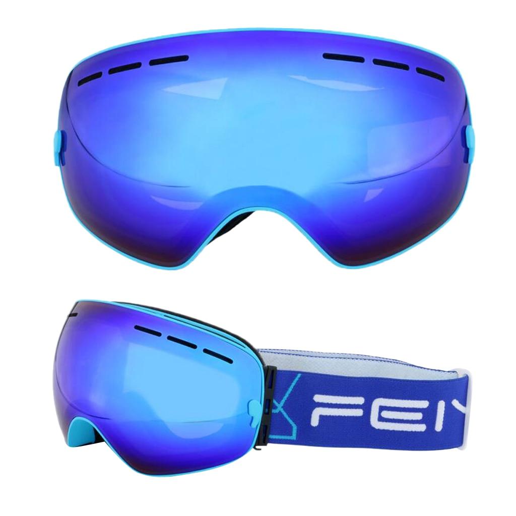 2 pièces Ski Snowboard lunettes sphérique plein miroir enduit lentille Protection UV Anti-buée sangle détachable