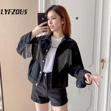 Streetwear Jeans Jacket Women Coat Tassels Chains Short Denim Jackets