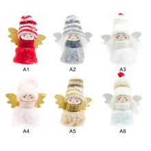 Plush Angel With Glittered Wing Christmas Pendant Decorative Hanging Figurine Ornaments Holiday Gift Decorations