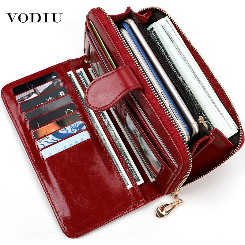 Women's Leather Wallet For Credit Card Female Coin Purse Fashion Brand Luxury Long Clutch Zipper Lady Solid Purse Women Wallets