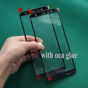 Image 1 - 5 шт. оригинальное стекло + ОСА клеевая пленка для Samsung Galaxy J6 J4 Plus J8 2018 J810 J400 J600 J610 J415 переднее внешнее стекло Замена объектива