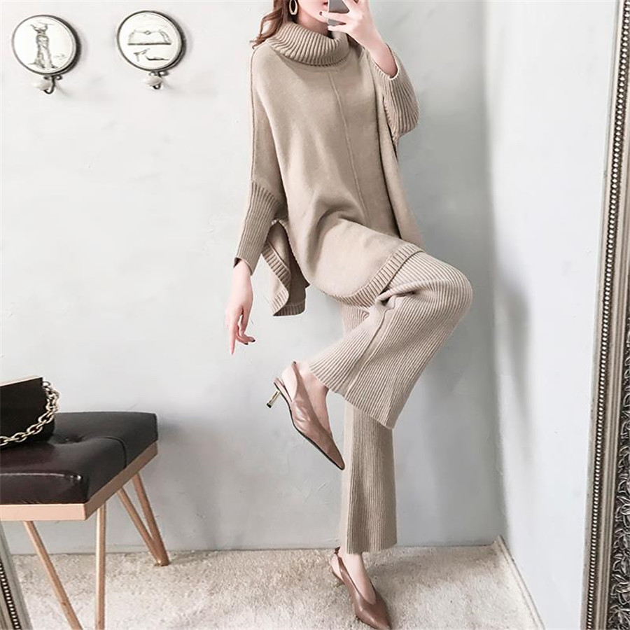 Knitted Two Pieces Women Pant Sets 2019 Autumn Winter New Long Sleeved Sweater Pullovers And Wide Leg Pants Suits