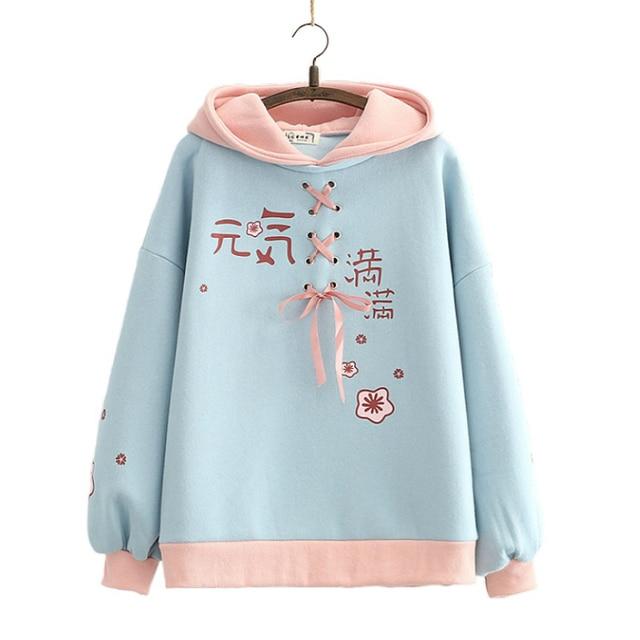 fleece thick Women hooded Sweatshirt winter Casual Loose Long Sleeve letter print Hoodies Female plus velvet Pullover