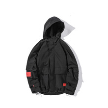 YUECHEN Autumn And Winter Mens Loose Pockets With Hood Solid Color Zipper Jacket Full Polyester Cuff Velcro M-2XL