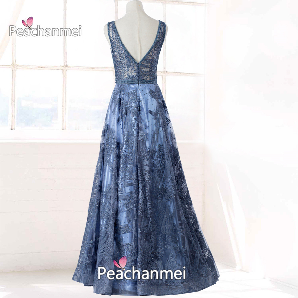Real Photos V-Neck Formal Evening Dress Long Prom Dress A Line Robe De Soiree Beaded Lace Appliques Military Ball Gowns
